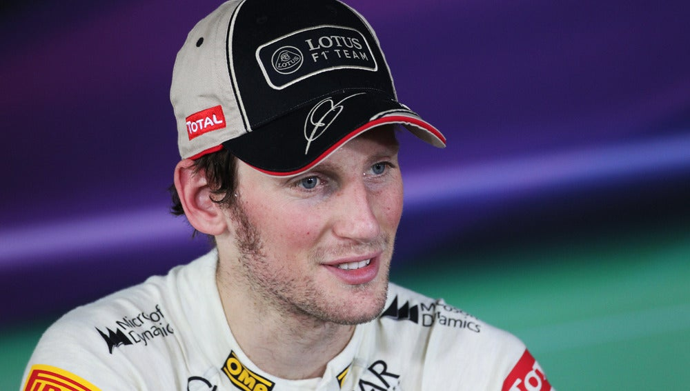 Romain Grosjean, en rueda de prensa