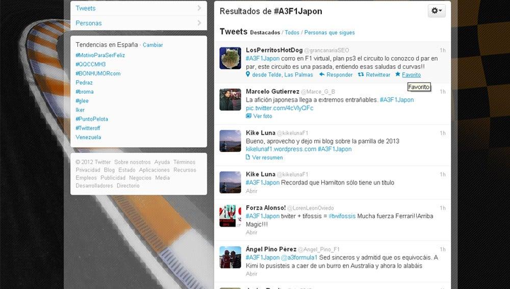 Los internautas tuitean con el hashtag #A3F1Japon.