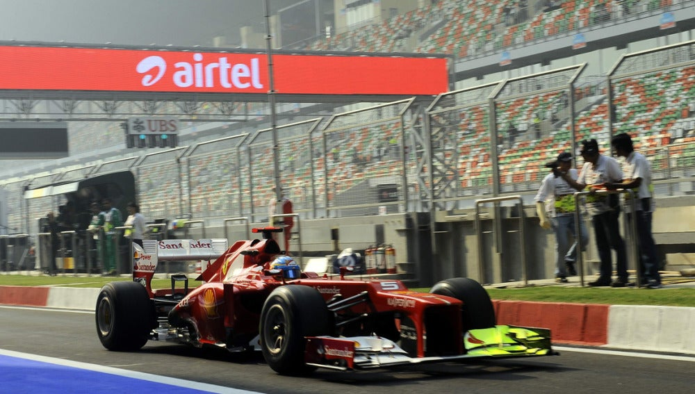 Alonso, en el Ferrari en la India