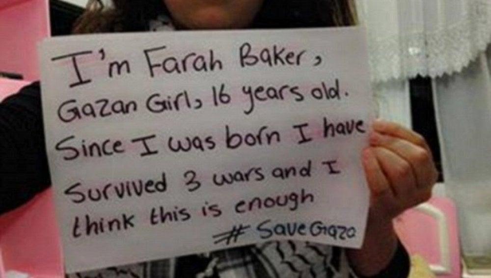 Farah Baker pidiendo la salvación de Gaza