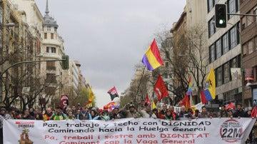 Una de las nueve columnas que integran las Marchas de la Dignidad