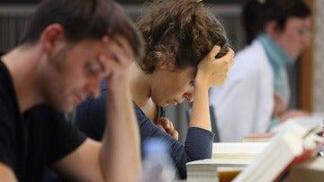 Estudiantes antes de los exámenes