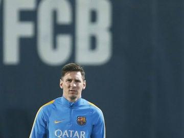 Leo Messi, en un entrenamiento del FC Barcelona