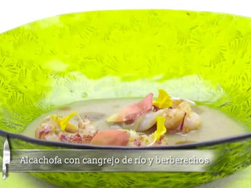 Alcachofa con cangrejo de río y berberechos