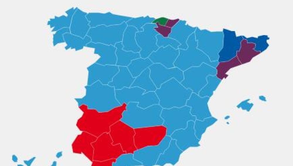 Mapa tras las elecciones generales