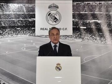 Florentino Pérez en sala de prensa
