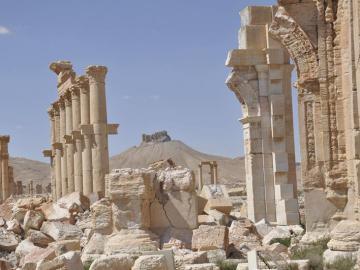 Vista de las ruinas del Castillo de Palmira en Siria