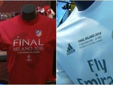 El 'merchandising' de la final: camisetas, bufandas, gorras...