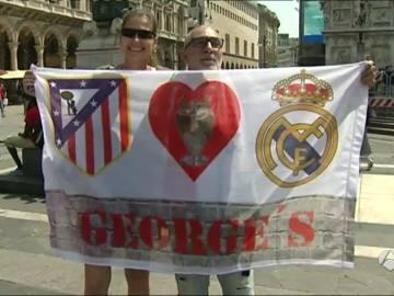 Los seguidores de Madrid y Atlético toman las calles de Milán