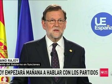 """Rajoy empezará """"a partir de mañana"""" a hablar con el resto de fuerzas políticas para ver la """"disposición"""""""
