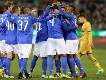 Los jugadores de la Juventus celebran un gol frente al Tottenham