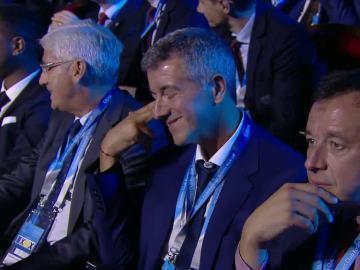 El incrédulo gesto de Gil Marín al enterarse de que el Atlético se enfrentará al Bayern
