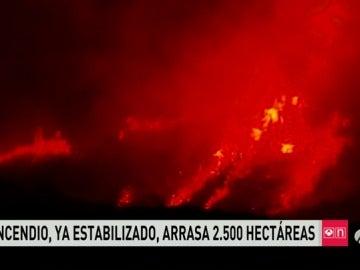 Estabilizado el incendio que ya ha arrasado más de 2.500 hectáreas en Tafalla (Navarra)