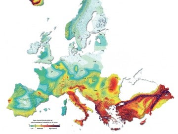 Mapa de riesgo sísmico en Europa