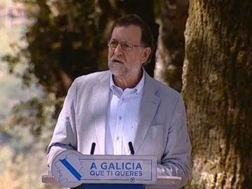 Mariano Rajoy, durante su mitin en Cotobade