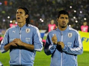 Suárez y Cavani con la Selección de Uruguay