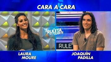 """Laura Moure y Joaquín Padilla en el primer """"cara a cara"""" de La Ruleta de la Suerte"""