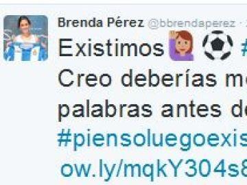 El tweet de Brenda Pérez respondiendo a las palabras de Luis Suárez