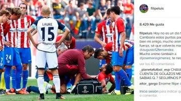 Mensaje de apoyo de Filipe Luis tras la lesión de Augusto en Instagram