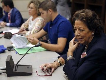 Rita Barberá en su primera reunión con el Grupo Mixto