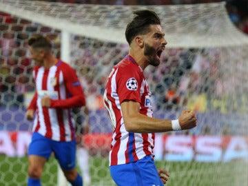 Carrasco, celebrando su gol al Bayern de Múnich