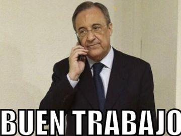 Florentino Pérez, protagonista de los 'memes' del sorteo de Champions