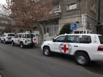 Vehículos de la Cruz Roja en Siria