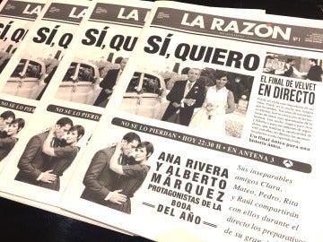 La gran boda de Alberto y Ana en el final de 'Velvet', portada de 'La Razón'