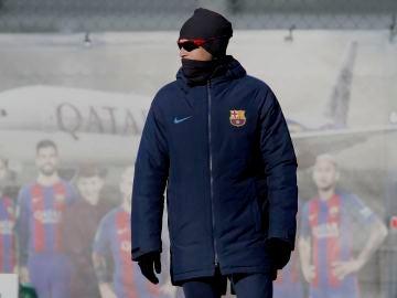 Luis Enrique, durante el entrenamiento del Barça