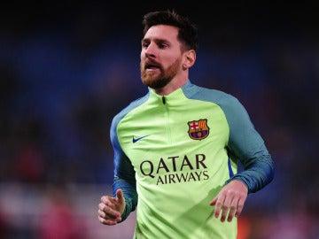 Leo Messi durante un entrenamiento
