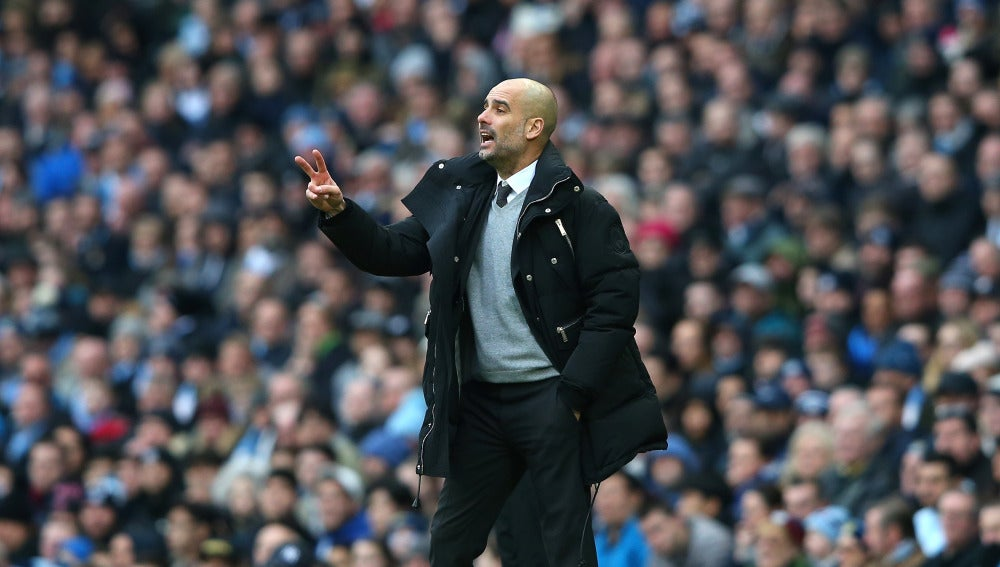 Guardiola en un partido con el Manchester City