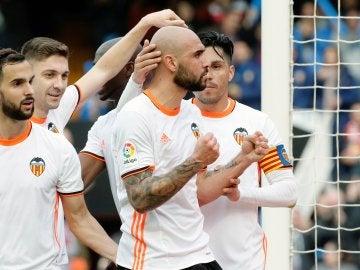 El Valencia celebrando uno de los goles