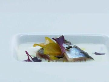 Ajoblanco malagueño con sardinas