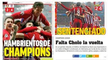 Las portadas tras la victoria del Atleti en Leverkusen