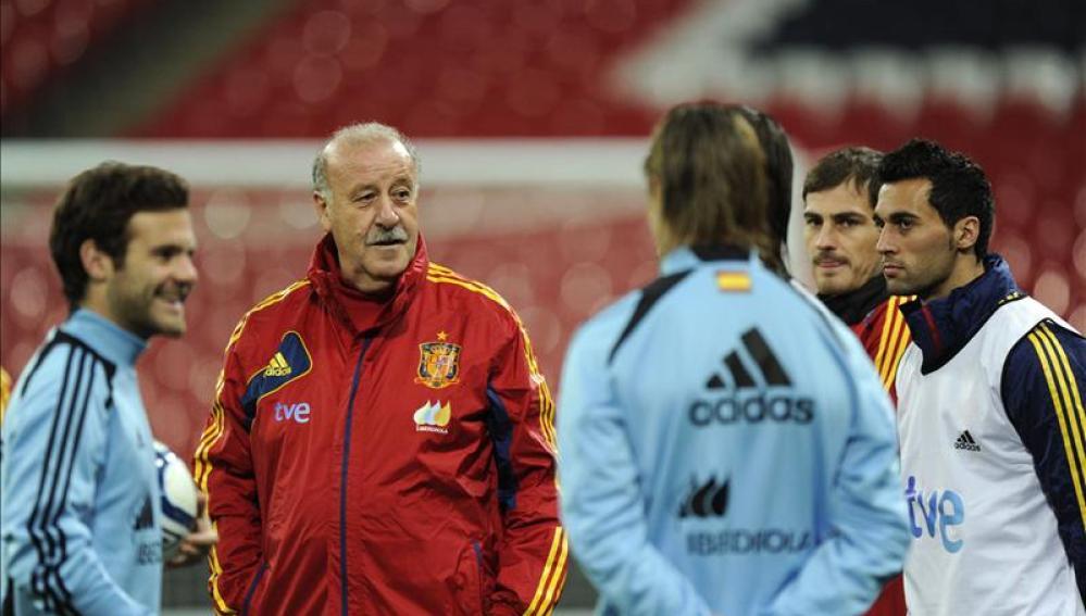 Vicente del Bosque en un entrenamiento de la selección española