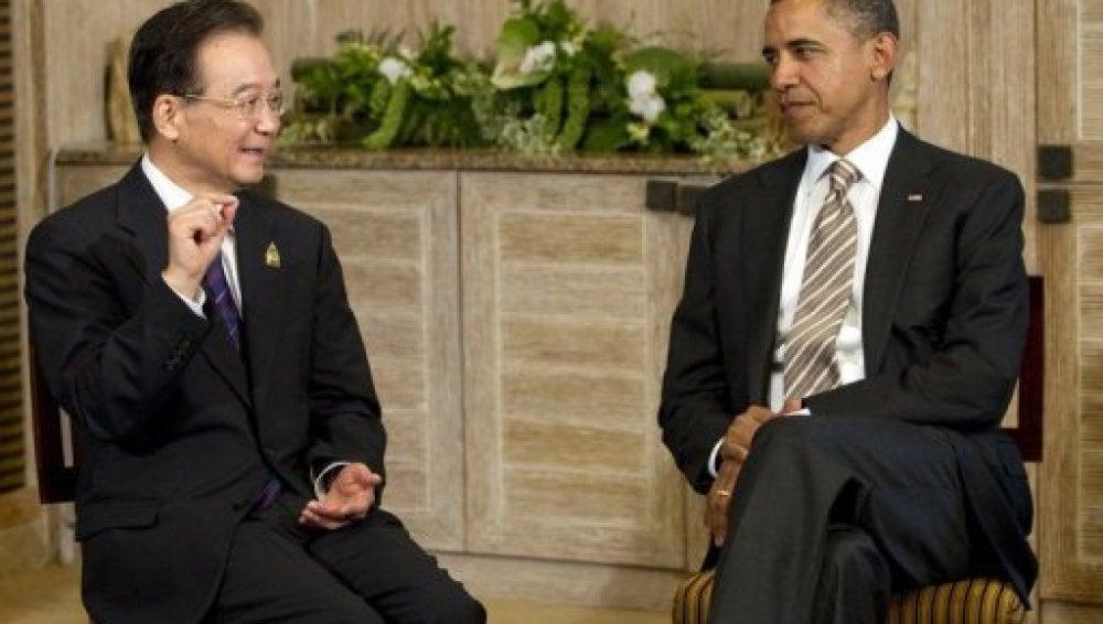El presidente estadounidense, Barack Obama, y el primer ministro chino, Wen Jiabao