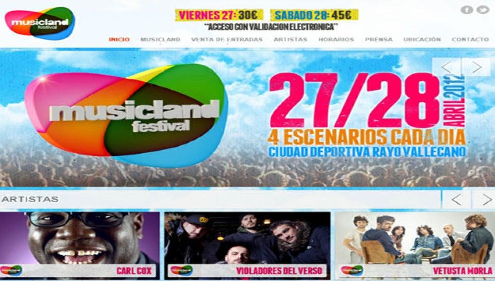 Web oficial del Musicland Festival.