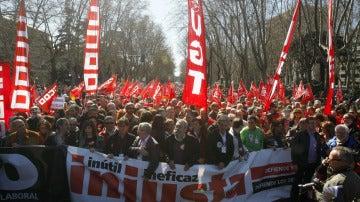 Los secretarios generales de CCOO y UGT en una manifestación