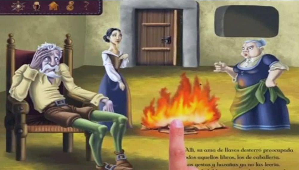 Una de las páginas virtuales de El Quijote