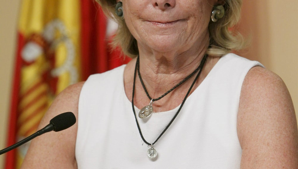 Esperanza Aguirre al comunicar su dimisión