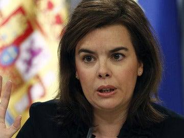 Soraya Sáenz de Santamaría, en la rueda de prensa tras el Consejo de Ministros
