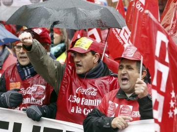 Los trabajadores de Coca-Cola durante una manifiestación en Madrid