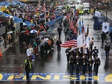 Homenaje a los caídos en la maratón de Bostón de 2013.