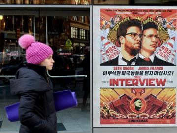 Cartel promocional d ela cinta 'The interview'en Nueva York.