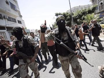 Imagen de archivo de varios miembros de Hamás