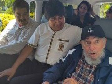 Castro con Morales y Maduro