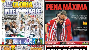 Las portadas de la prensa deportiva tras la final de Milán
