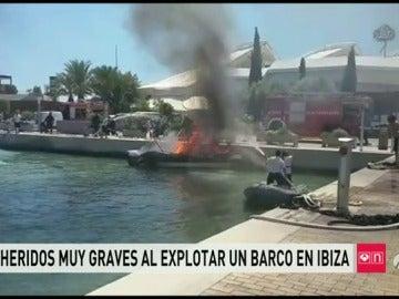 Un incendio en un barco en Ibiza deja a cuatro personas heridas, una de ellas en estado crítico