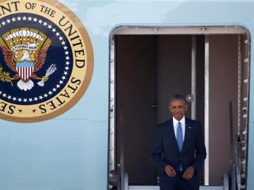 El presidente de Estados Unidos, Barack Obama, llega a Hangzhou, al este de China.