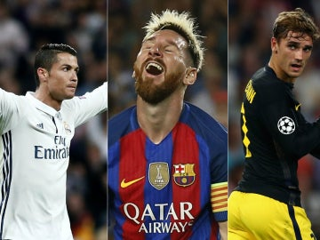 Cristiano Ronaldo, Leo Messi y Griezmann
